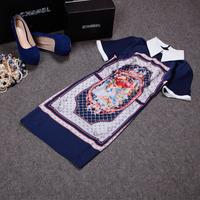 Free shipping! 2014 European summer women's fashion short sleeve Angel print vinage slim dress, OL dress
