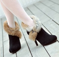 New 2014 Autumn Winter Women Fashion Real Rabbit Fur Ankle Boots Genuine Leather Womans Sexy High Heel Boots Free shipping B2311