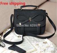 2014 black bowknot women messenger bag antique bag bag, single shoulder bag mill yarn PU handbag the already set bag
