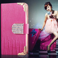 5pcs/lot multi-function  diamond  buckle Lizard grain leather series phone case for iphone5/5s  Star style more colors