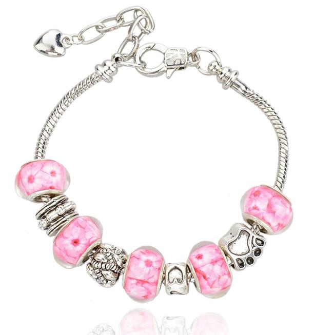 New 2014 European Beads 925 Silver Charm Snake Chain Bracelet & Bangle For Women With Murano Glass Beads Bracelet Bangle(China (Mainland))