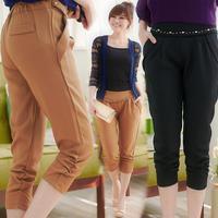 XL- 4XL 2014 Summer Women Fashion Plus Size XXXL Slim Casual Capris Zipper Fly Brand Pleated Pencil Pants Solid Color