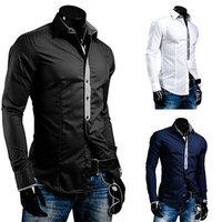 New 2014 Fall Winter Men Shirts Fashion Placket Plaid Hit Color Casual Men lapel Shirt Free Shipping Promotions