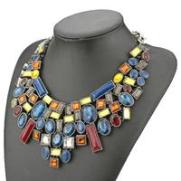 za new design 2014 fashion necklace geometric multicolor crystal stone necklace for women