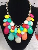 2014 fashion women  2014 Drop multi-layer pendant bib necklace multi color necklace 12pcs/lot