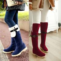 New arrival 2014 winter boots Fashion two wear knee high boots Super warm shoes women Big size EU 34-43 platform boots L2353