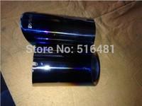Tip 7.5cm Inlet Blue Stainless Steel Exhaust Resonator Muffler For 2014 RAV4