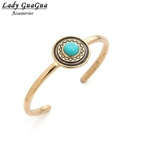 free shipping ~~high quality stainless steel  cuff bracelet with Turkey turquoise for women 140912