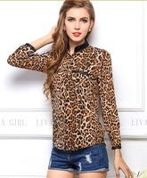 free shipping ! girl's leopard pockets chiffon shirt women's big size blouse Fashion female European American clothing