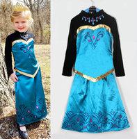 wholesale 5set/lot gril's clothes long sleeve shirt skirt 2pcs set vintage baby clothes ,full dress kids clothes