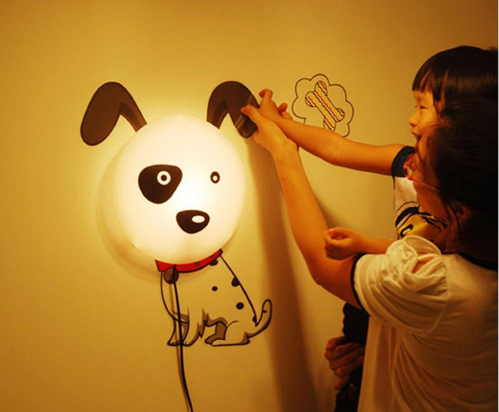 Discount 2014 New Wallpaper Stickers Wall Lamp Kid Bedroom 3D Cartoon Night light Home Decor Children Room DIY(China (Mainland))