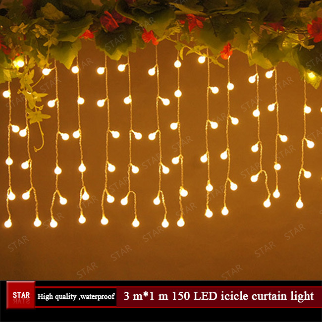 LED Curtain Icicle String Lights 3m*1m Holiday Christmas Outdoor Waterproof Wedding Party Stage Decarative Lights Free Shipping(China (Mainland))