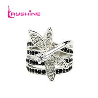 2014 New Arrival Delicated Uniwue Retro Imitation Crystal Silver Color Lotus Leaf Rhinestone ELegant Rings For Women
