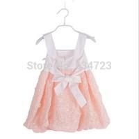 Roupas Infantil Meninas Sale Real Free Shipping! 2014 Summer Girls Dress Rose Petal Hem Color Cute Frozen Princess Baby Costume