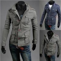 Gray/Navy 2014 New Top Brand Fashion Man Jacket Solid Men Jaqueta Cardigans Button Jackets Long Sleeve Slim Fit Coat AX838 M-2XL