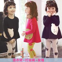 new 2014 girl baby spring autumn kid children pants child  clothing children headband t shirt pants 3 pcs / set sets