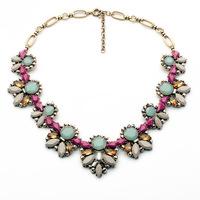 2014 fashion Z*a bib collar necklace chunky acrylic luxury crystal choker Necklace statement jewelry women