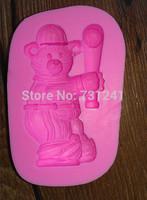 Design 385 Christmas Theme   Bear Play the Baseball  Silicone 3D Fondant Cake Mold,Cake Decoration Tool