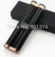 COHIBA Black Alloy Cigar Hydrating Tube Case Holder 2 Tube With Humidifier -free shipping