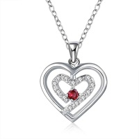 Promotion! free shipping wholesale 925 silver necklace, 925 silver fashion jewelry two heeart stone red Necklace SMTN598