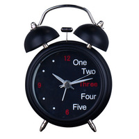 Classic Round Metal Double Bell Alarm Clock with Night Lamp Mute Mechanism Black Table Clock Must for Students Free Shipping