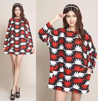 2014 Fashion Women Oversized Dresses Sweater Dresses Autumn Winter Women's Plus Size Tops Tees Pullovers For Full Figure Girls