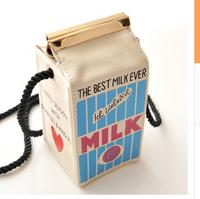 2014 new stereo milk box shoulder bag diagonal package female bag tide milk pack