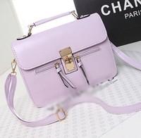 Free shipping new 2014 fashion leather women handbag candy color tassel women bag women messenger bags