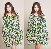 2014 Wholesale Women Flower Print Dresses Winter Dress Batwing Sleeve European Style Vestido De Festa Plus Size Women Clothing