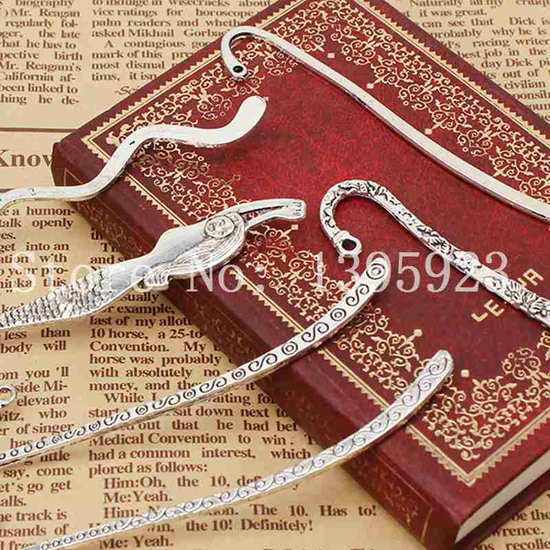 6pcs/lot Hot Sale Mixed Shape Zinc Alloy Antique Silver Plated Fashion Bookmarks Fit Beading Jewelry Making Free Shipping(China (Mainland))