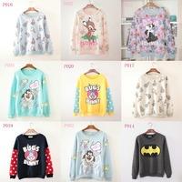 [Alice] 2014 New winter fashion hoody Flowers deer/rabbit/Lightning dog printing women's hoodies Loose women fleece Sweater