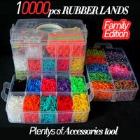 Rubber loom kit bands including(12000pcs bands +2pcs metal hook+6pcs loom+18pcs sticker+2pcs monster+300pcs clips) diy Bracelets