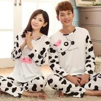 Lovely Cow print Pajama Sets O-Neck Long Sleeve lovers' Sleepwear autumn winter Pajamas couple lovely set  man/women Wholesale