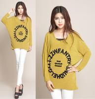 2014 New Fashion Women Cotton Knitted Sweater Pullover Batwing Sleeve Plus Size XXL XXXL 4XL Women's Autumn Winter Sweaters Tops