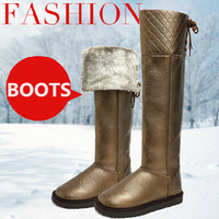 2014 Genuine Leather Knee High Fashion Snow Boots Winter Plush Fur Boots Cow Leather Over The Knee Women Warm Long Boots B242