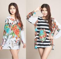 2014 New Fashion Women Winter Casual Loose Dress Plus Size XXL 3XL 4XL Sweater Dress Women's Vintage Printed Dresses Big Size