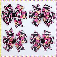 3.1'' Free shipping minnie zebra Ribbon Bows with hair clip headband headwear hairbow diy decoration wholesale OEM H2881
