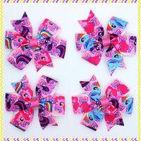 3.1'' Free shipping pony Ribbon Bows with hair clip headband headwear hairbow diy decoration wholesale OEM H2880