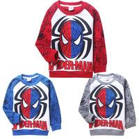 2014 new spring autumn cartoon Spiderman Thick fleece coat child leisure Sweatshirts, children's clothing 9115