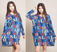 2014 New Fashion Women Vintage Letter Printed Dress Maxi Winter Dresse Vestidos Women's Plus Size Oversized Sweaters Pullovers