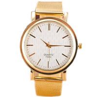 High Quality Mesh Stainless Steel Dress Watches New Brand Golden Quartz Watches Women Fashion Dress Wristwatches Brand Watches