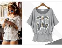 Free shipping 2014 Summer New Chiffon Shirt Women Slim Thin Openwork Beaded Lace Shirt-Sleeved Blouse