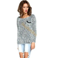2014 New Fashion Leisure Loose Casual Knitwear Tops Pullover Women Long Sleeve Round Neck Knitted Mohair Sweater B20 SV008681