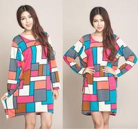 XXL XXXL 4XL Plus Size Winter Dress Casual Maxi Dress For Women Batwing Sleeve Geometric Print Women's Long Sweater Dresses Tops
