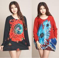 2014 New Fashion Women Winter Casual Flowral Printed Dress Long Sleeve O Neck Ladies Vintage Sweater Dresses Plus Size XXL 4XL