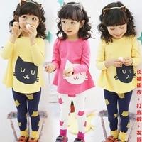 new 2014 girl baby spring autumn kid children pants child kitty clothing children t shirt pants 2 pcs / set sets