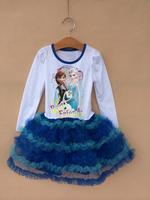Retail 2014 Autumn Frozen Anna&Elisa&Olaf Clothes Best friend Long sleeve Dress for Girl Brand TuTu Dress Fit 2-8 age D011