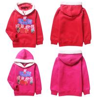 2014 new spring autumn cartoon peppa pig Thick fleece coat child leisure sports jacket, children's clothing 61122