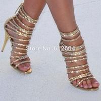 Shinny women rhinestone strappy high heel sandal boots gladiator gold leather back zip dress pump bridal wedding shoes big size