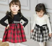 Free shipping 5pc/lot New Fashion Long Sleeve Cotton Girls Plaid Dress Kids Plaid Blouse Dresses White Black